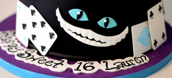 Alice in Wonderland Sweet 16 Custom Cake. Cheshire cat smile and playing cards