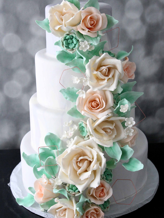 marble, geometric shapes, sugar flowers on this trendy wedding cake from nj bakery cafe pierrot