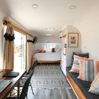 Inside of an Airstream Camper trailer renovation