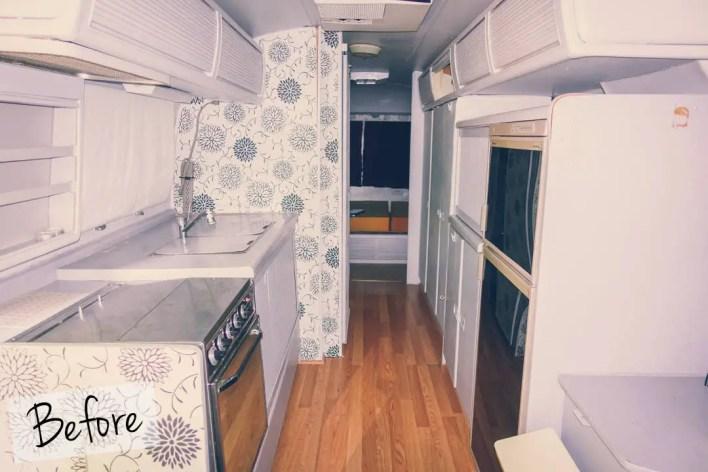 hopscotch the globe airstream camper trailer kitchen before restoration