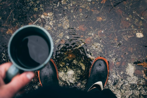 camping in the rain with coffee