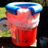 Orange and Blue DIY Camping Toilet