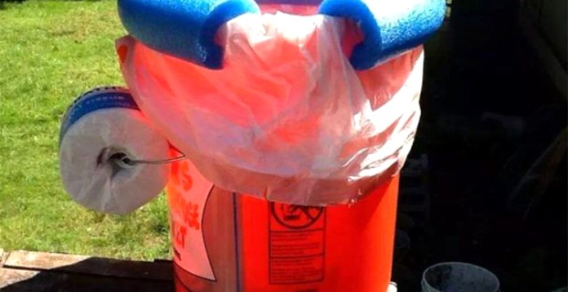 Orange and Blue DIY Camping Toilet