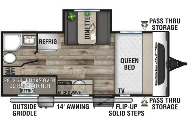 Hybrid Camper Floor Plan - 2021 KZ Escape E191BHK