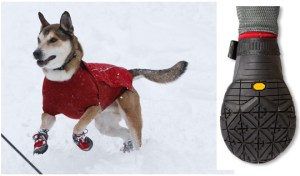 Ruffwear makes excellent dog clothing to keep them warm through those cold winter months!