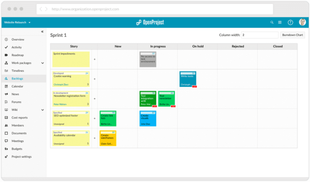 screenshot of the Sprint overview in OpenProject