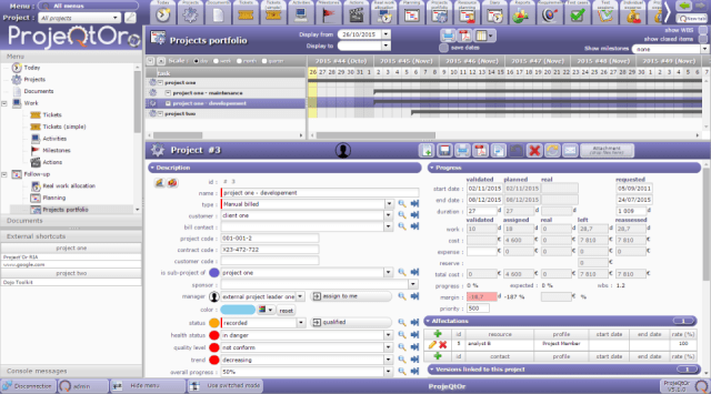 screenshot of the main user interface in ProjectQtOr
