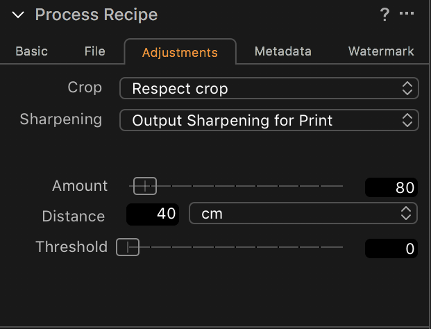 Capture One Output Sharpening