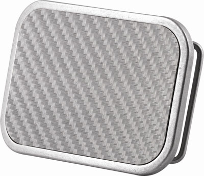 Silver carbon fiber belt buckle