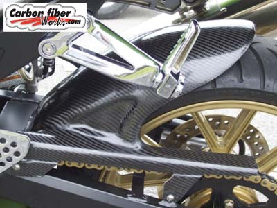 R1 carbon fiber tire hugger and chain guard