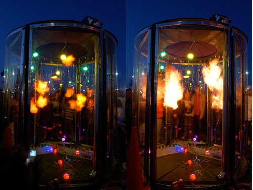 Hydrogen bubbles explode inside our polycarbonate chamber