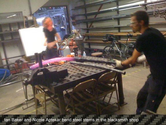 Bending steel in the blacksmith shop