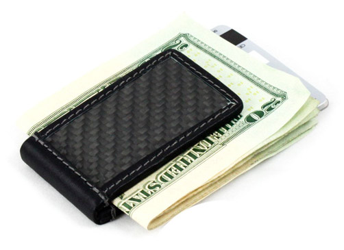 Carbon fiber and leather magnetic money clip