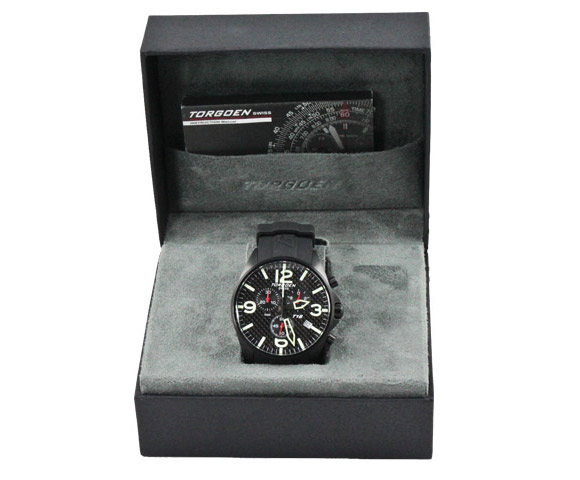 Torgoen T16302 carbon fiber watch in the box