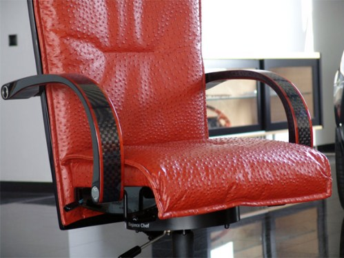 Mansory office chair with carbon fiber and red leather