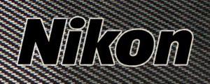 Carbon fiber Nikon logo