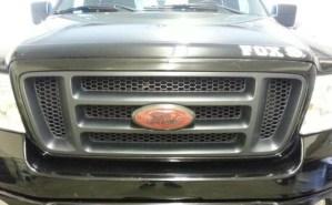 Carbon fiber Ford emblem on truck