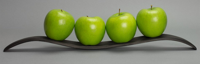 Carbon fiber curved display with Apples