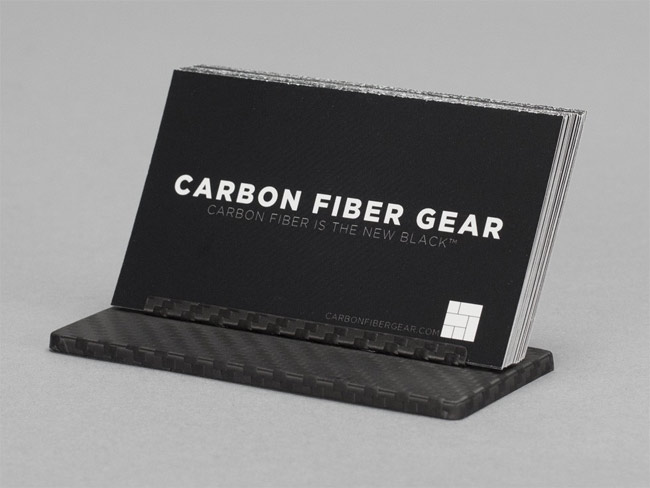 Carbon fiber business card stand