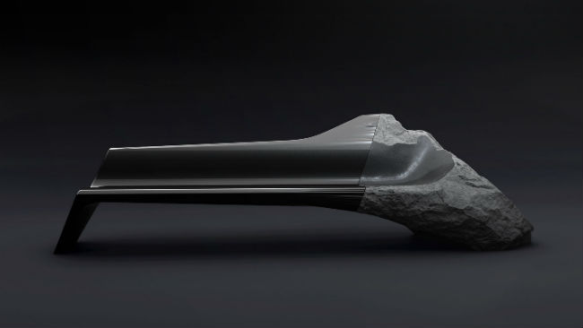Peugeot Lab carbon fiber volcanic rock bench called the Onyx