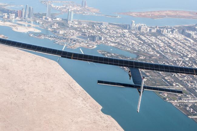 Solar Impulse 2 flying over Abu Dhabii