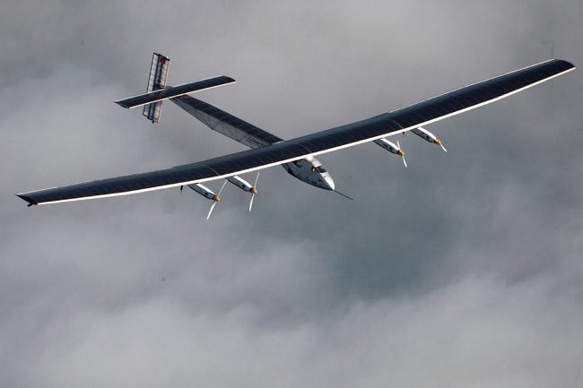 Solar Impulse 2 flying over Switzerland during test flights in 2014