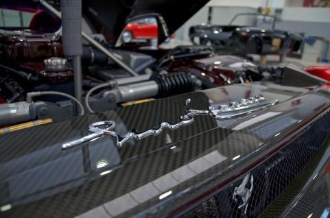 Exposed carbon fiber Enzo Ferrari engine