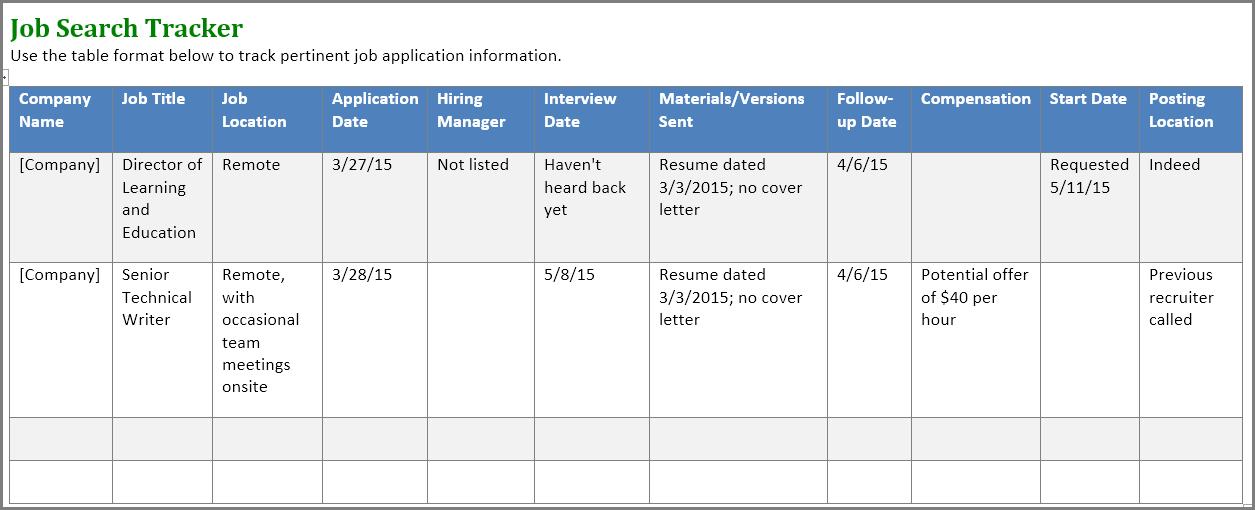 job application tracker spreadsheet