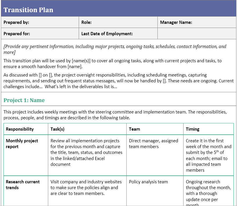 This means that a good project management transition plan template will focus on repeatable projects. Transition Plan Template For When You Ve Resigned Careermanager Blog