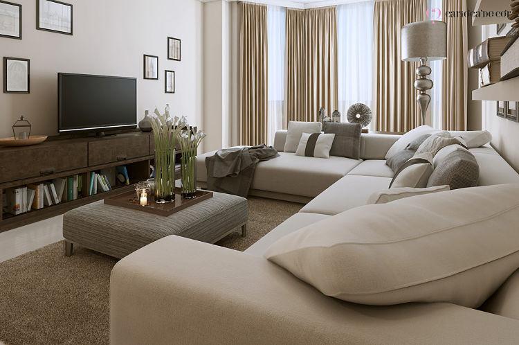 Sala de televisão com sofá grande e confortável