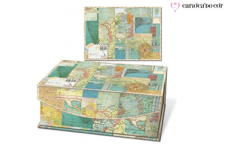 caixa decorativa mapa mundi