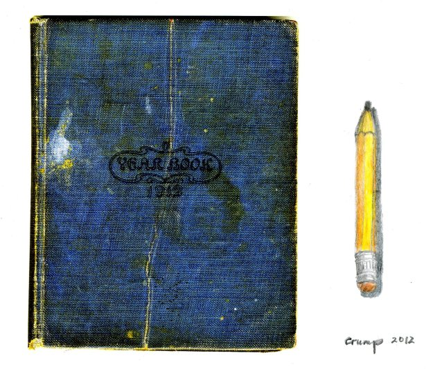 1912 Yearbook and Yellow Pencil, Carol Crump Bryner, 2012