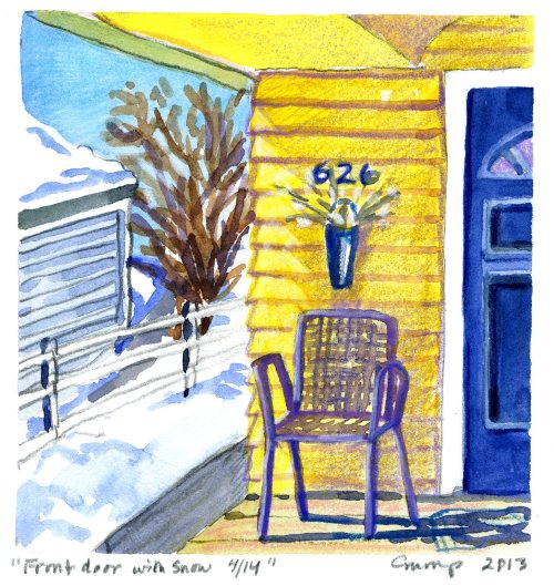 """Front Door with Snow,"" Carol Crump Bryner, gouache and colored pencil, 2013"