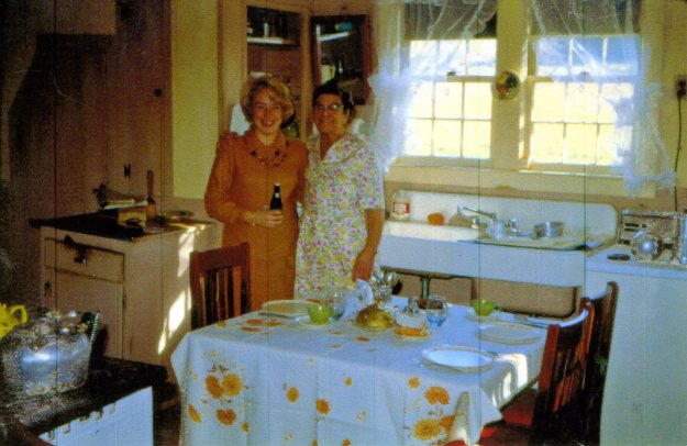 Nancy Teter Smith and Agnes Hall in the farm kitchen, 1970