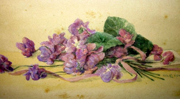 """Violets,"" Mary E. Hart, watercolor, ca. 1860"