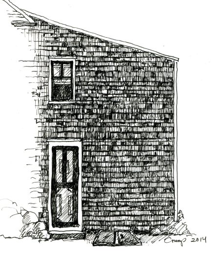 """Farmhouse Window from Outside,"" Carol Crump Bryner, pen and ink, 2014"