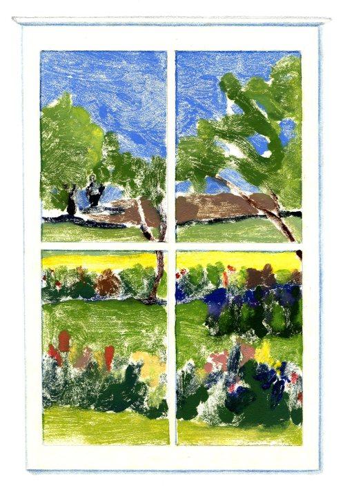 """June Window,"" Carol Crump Bryner, monoprint"