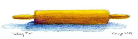 """""""Rolling Pin,"""" Carol Crump Bryner, gouache and colored pencil, 2014"""
