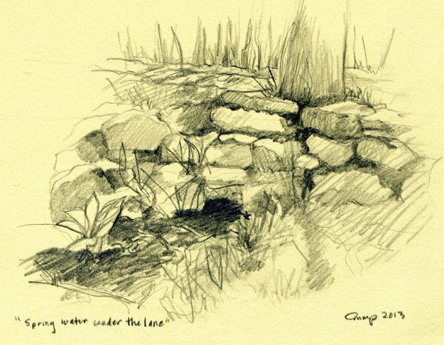 """Spring Water Under the Lane,"" Carol Crump Bryner, pencil, 2013"