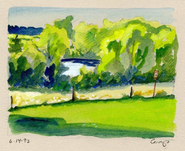 A View of the Reservoir, Carol Crump Bryner, gouache, 1992