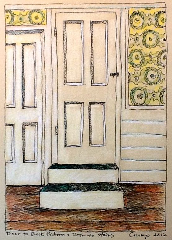 """Door to Back Bedroom and Door to Stairs,"" Carol Crump Bryner, colored pencil, 2012"