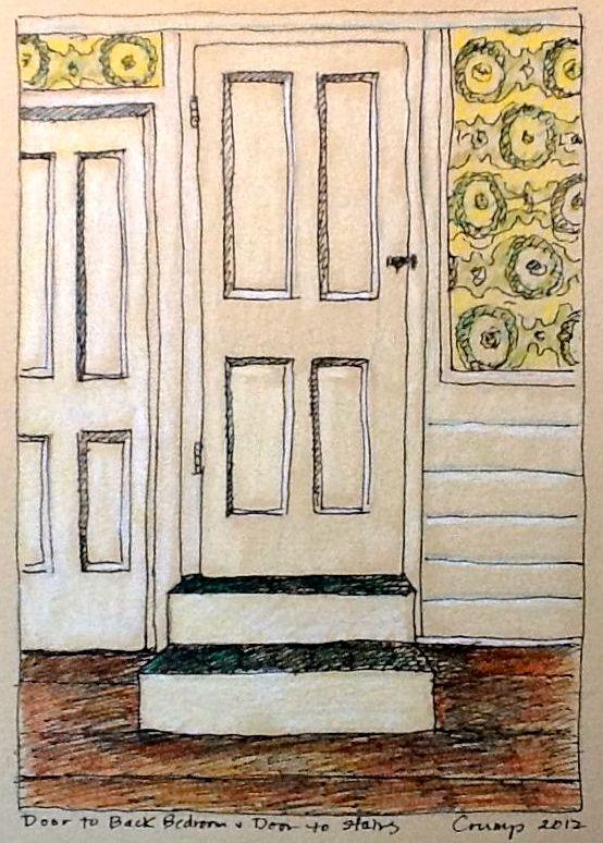 """""""Door to Back Bedroom and Door to Stairs,"""" Carol Crump Bryner, colored pencil, 2012"""