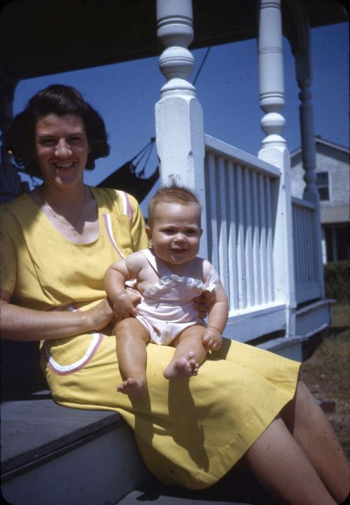 Janet and Carol Crump at the cottage, 1946
