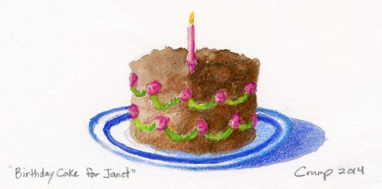 """Birthday Cake for Janet,"" Carol Crump Bryner, watercolor and colored pencil, 2014"