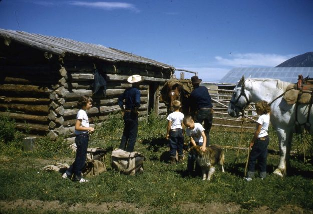 Carol, Charlie, and Kirt Crump, Hank, Wayne, and Barba Rowe, Norris, Montana, 1956