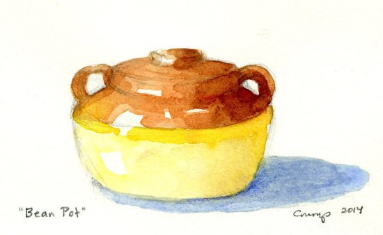 """Bean Pot,"" Carol Crump Bryner, watercolor, 2014"