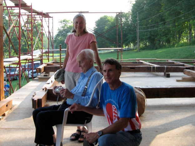 Carol, Charlie, and Kirt - morning of barn raising