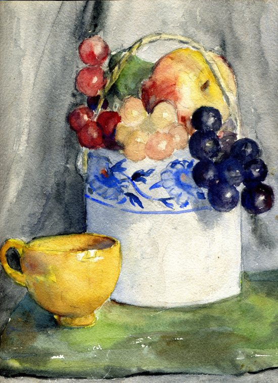 """Still Life with Yellow Cup,"" Janet Hall Crump, watercolor, 1938"