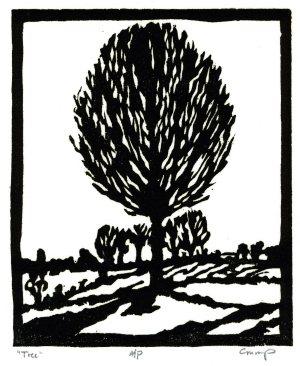 """Tree,"" Carol Crump Bryner, woodcut"
