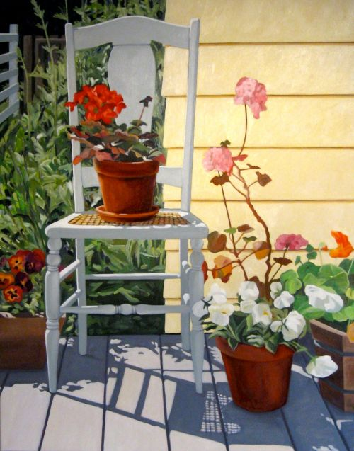"""""""White Chair in South Light,"""" Carol Crump Bryner, oil on canvas, 2009"""